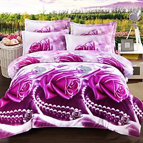 preiswerte Blumen-Duvet-Abdeckungen-bettbezug sets 3d floral reaktiven druck weich und atmungsaktiv bettwäschesätze / 4 stücke (1 bettbezug, 1 flaches blatt, 2 shams)