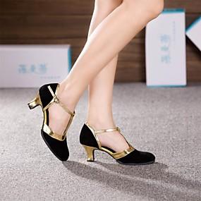 billige Dansesko-Dame Dansesko Semsket lær Moderne sko / Ballett Høye hæler Kubansk hæl Kan ikke spesialtilpasses Sort og Gull / Brun / Kongeblå / Lær / EU42