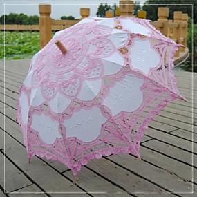 levne Doplňky pro květinové družičky-vintage krásné růžové patchwork fashional vyšívané battenburg krajky ruční svatební slunečník květin deštník