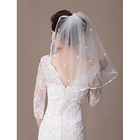 preiswerte Shimaly®-Einschichtig Band / Perlenbesetzter Saum Hochzeitsschleier Schulterlange Schleier mit Band-Bindung / Gestreute Kristalle 21,65 in (55cm) Tüll