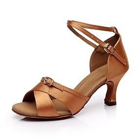 preiswerte SUN LISA®-Damen Tanzschuhe Seide Schuhe für den lateinamerikanischen Tanz Schnalle Sandalen Maßgefertigter Absatz Maßfertigung Schwarz / Braun / Leder