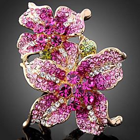 preiswerte Vintage Ring-Damen Statement-Ring Kubikzirkonia Farbbildschirm Zirkonia Aleación Erklärung damas Modisch Party Schmuck Blume