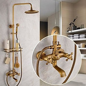 cheap Faucets-Shower System Set - Rainfall Antique Antique Brass Shower System Ceramic Valve Bath Shower Mixer Taps / Two Handles Five Holes