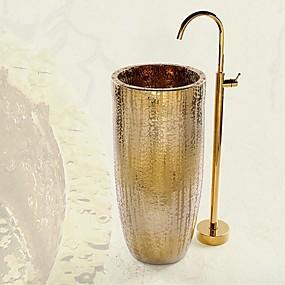 preiswerte Badewannen Armaturen-Badewannenarmaturen - Antike Ti-PVD bodenmontiert Keramisches Ventil Bath Shower Mixer Taps / Einhand Ein Loch