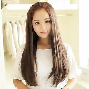 cheap Synthetic Half Wigs-Synthetic Wig Straight Straight Asymmetrical Wig Long Ash Brown Synthetic Hair 25 inch Women's Partial / Half Wigs Brown