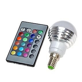 billige Globepærer med LED-1pc LED-globepærer 300 lm E14 1 LED perler Fjernstyrt RGB 100-240 V / 1 stk.
