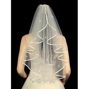 preiswerte Shimaly®-Einschichtig Band / Perlenbesetzter Saum Hochzeitsschleier Ellbogenlange Schleier mit Gestreute Kristalle 31,5 in (80cm) Tüll