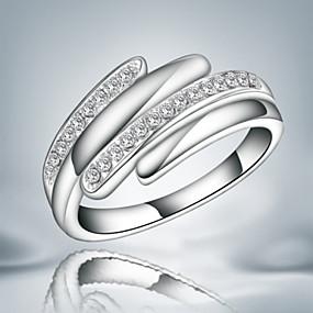 billige Vintage Ring-Dame Band Ring Kubisk Zirkonium Sølv Sølv Zirkonium Kubisk Zirkonium Statement Mote Fest Smykker