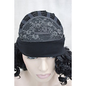 cheap Synthetic Half Wigs-Synthetic Wig Curly Curly Wig Medium Length L16-613 Black Synthetic Hair Women's Black Mixed Color Hivision