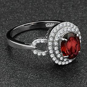 billige Vintage Ring-Statement Ring Kubisk Zirkonium Garnet Sølv Vin Sølv Zirkonium Kubisk Zirkonium Elegant Fest Smykker