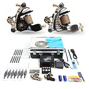 cheap Professional Tattoo Kits-Professional Tattoo Kit Tattoo Machine - 2 pcs Tattoo Machines, Professional LCD power supply 2 cast iron machine liner & shader / Case Included