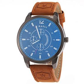 preiswerte Markenuhren-JUBAOLI Herrn Uhr Kleideruhr Armbanduhr Quartz Leder Schlussverkauf Analog Charme Modisch Orange Rot Blau / Ein Jahr / SSUO LR626