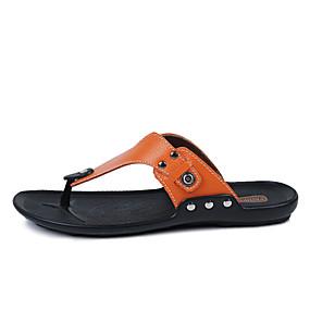 levne Větší obuv-Pánské Komfortní boty Kůže Jaro / Léto Pantofle a Žabky Černá / Bílá / Oranžová / Nýty