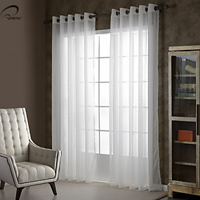 cheap Curtains & Drapes-Sheer Curtains Shades One Panels Bedroom Solid Colored Polyester Embossed
