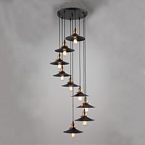 povoljno Viseća rasvjeta-qingming® jednostavna industrijska svjetiljka za vjetra i kreativna stubišna svjetiljka za dnevnu sobu viseća svjetiljka dvoetažne zgrade sjevernog europskog i američkog stila, viseća podna viseća svj