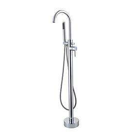 preiswerte Badewannen Armaturen-Badewannenarmaturen - Moderne Chrom bodenmontiert Keramisches Ventil Bath Shower Mixer Taps / Einhand Ein Loch