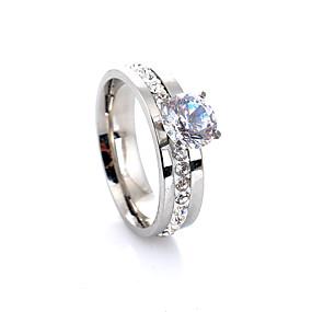olcso eljegyzés-Női Band Ring Eljegyzési gyűrű Belle gyűrű Gyémánt Kocka cirkónia Ezüst Ötvözet Négyágú hölgyek Luxus Európai Esküvő Parti Ékszerek Szoliter HALO Szerelem