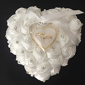 cheap Gifts & Decorations-Bowknot / Ribbons Satin Ring Pillow Beach Theme / Garden Theme / Floral Theme Spring / Summer / Fall
