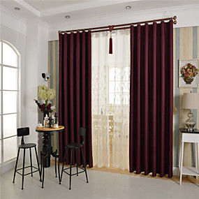 preiswerte Verdunkelungsvorhänge-Ein Panel Rustikal / Modern / Neoklassisch / Europäisch / Designer Solid Burgunderrot Schlafzimmer Polyester Verdunklungsvorhänge Vorhänge