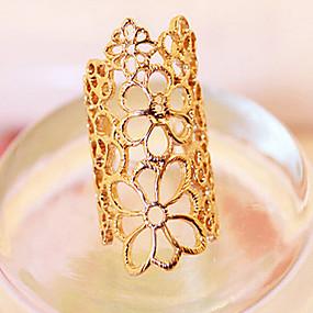 ราคาถูก แหวนวินเทจ-สำหรับผู้หญิง คำชี้แจง Ring สีทอง ลูกไม้ โลหะผสม สุภาพสตรี ไม่ปกติ ดีไซน์เฉพาะตัว ปาร์ตี้ เครื่องประดับ ลวดลายเป็นเส้น โรส Flower สามารถปรับได้