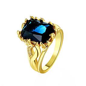 billige Vintage Ring-Dame Ring Syntetisk safir Gull Blå Marineblå 18K Gullbelagt Syntetiske Edelstener damer Mote Daglig Smykker Emerald Cut simulert Cocktail Ring