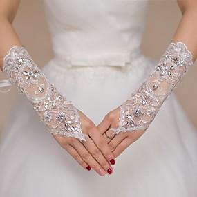 preiswerte Hochzeitshandschuhe-Spitze Ellenbogen Länge Handschuh Brauthandschuhe / Party / Abendhandschuhe / Blumenmädchen Handschuhe Mit Strass / Paillette