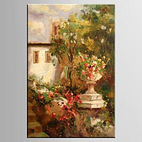 povoljno Slike za cvjetnim/biljnim motivima-Hang oslikana uljanim bojama Ručno oslikana - Pejzaž / Cvjetni / Botanički Moderna / Europska Style Platno