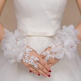 preiswerte Hochzeitshandschuhe-Spitze / Tüll Handgelenk-Länge Handschuh Brauthandschuhe / Party / Abendhandschuhe / Blumenmädchen Handschuhe Mit Strass / Blumig