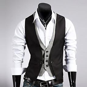 رخيصةأون ملابس خارجية-رجالي Vest عادية لون سادة عمل بدون كم أسود / بني M / L / XL / رسمي / نحيل