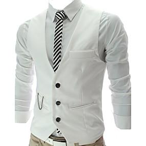 cheap Athleisure Wear-Men's Vest Work Business Solid Colored Slim Cotton / Polyester Men's Suit Wine / White / Black