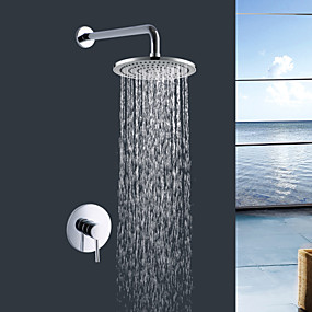 preiswerte Meist Verkaufte-Moderne Chrom Wandmontage Keramisches Ventil Bath Shower Mixer Taps / Messing / Einzigen Handgriff Zwei Löcher