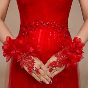 preiswerte Hochzeitshandschuhe-Spitze / Tüll Handgelenk-Länge Handschuh Brauthandschuhe / Party / Abendhandschuhe Mit Strass / Blumig