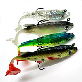 preiswerte Fishing-4 pcs Angelköder Weiche Fischköder / Gummifische Shad Softjerk sinkend Bass Forelle Pike Seefischerei Spinn Fischen im Süßwasser Weicher Kunststoff / Barschangeln