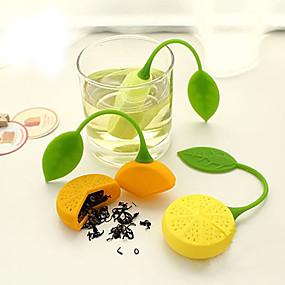 voordelige Koffie en Thee-oranje citroen vorm thee-ei siliconen zeef filter tas theepot kruid