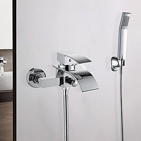 preiswerte Duscharmaturen-Badewannenarmaturen - Moderne Chrom Wandmontage Keramisches Ventil Bath Shower Mixer Taps / Messing / Einzigen Handgriff Zwei Löcher
