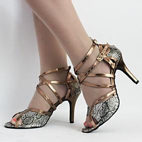 preiswerte Tanzschuhe Klassische Kollektion-Damen Tanzschuhe Kunstleder Schuhe für den lateinamerikanischen Tanz Schnalle / Schnürsenkel Stöckelschuhe / Sandalen Stöckelabsatz Maßfertigung Bronze / Innen / Leder / EU39