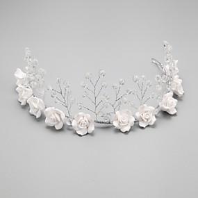 voordelige Bloemenmeisjesaccessoires-Kristal / Imitatieparel / Legering hikinauhat met 1 Bruiloft / Speciale gelegenheden Helm