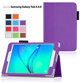 cheap Phones & Accessories-Case For Samsung Galaxy / Tab A 8.0 / Tab A 9.7 with Stand / Flip Full Body Cases Solid Colored PU Leather