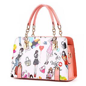 preiswerte M.Plus®-Damen Niete PU Tasche mit oberem Griff Künstlerisch gestaltet Rosa / Hellblau / Lavendel