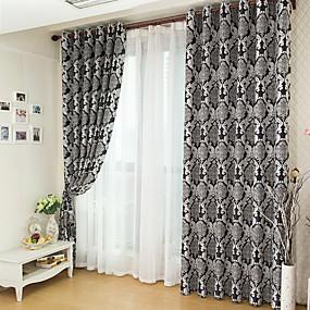 preiswerte Fensterdekoration-Maßgfertigt Verdunkelung Verdunklungsvorhänge Vorhänge zwei Panele 2*(W183cm×L213cm) Schwarz / Jacquard / Schlafzimmer