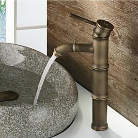 preiswerte Antikmessing Series-Antike Mittellage Wasserfall Keramisches Ventil Einhand Ein Loch Antikes Messing, Waschbecken Wasserhahn