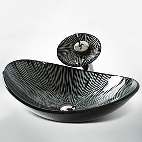 billiga Fristående tvättställ-badrum diskbänk kran-fast färg härdat glas bänkskål bassäng minimalistisk konst handfat härdat glas oval fartyg handfat