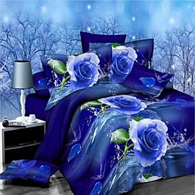 preiswerte Blumen-Duvet-Abdeckungen-Bettbezug-Sets 3D Poly / Baumwolle reaktiven Druck 4 Stück Bettwäsche-Sets voll