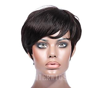 preiswerte Lace Wigs with Baby Hair-Echthaar Maschinell gefertigt Perücke Freier Teil Stil Brasilianisches Haar Locken Perücke 150% Haardichte mit Babyhaar Natürlicher Haaransatz Afro-amerikanische Perücke 100 % von Hand geknüpft