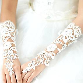 preiswerte Hochzeitshandschuhe-Spitze / Baumwolle / Polyester Handgelenk-Länge / Ellenbogen Länge Handschuh Charme / Stilvoll / Brauthandschuhe Mit Acryl / Stickerei / Einfarbig
