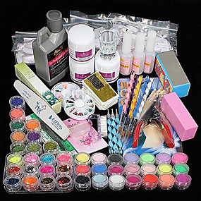 cheap Nail Art & Decoration-42 pcs Acrylic Nail Kits Professional DIY Acrylic Liquid Glitter Powder Nail Art Kit for Finger Nail kit