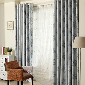 cheap Curtains & Drapes-Custom Made Blackout Blackout Curtains Drapes Two Panels  Coffee / Jacquard / Bedroom