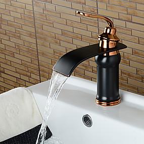 preiswerte Angebote der Woche-Waschbecken Wasserhahn - Wasserfall Öl-riebe Bronze 3-Loch-Armatur Einhand Ein LochBath Taps / Messing