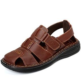 levne Větší obuv-Pánské Komfortní boty Kůže Jaro / Léto Sandály Boty do vody Černá / Světle hnědá / EU40