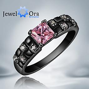 billige Vintage Ring-Dame Band Ring Kubisk Zirkonium Rosa Skjermfarge Kubisk Zirkonium Gullbelagt damer Mote Fest Smykker